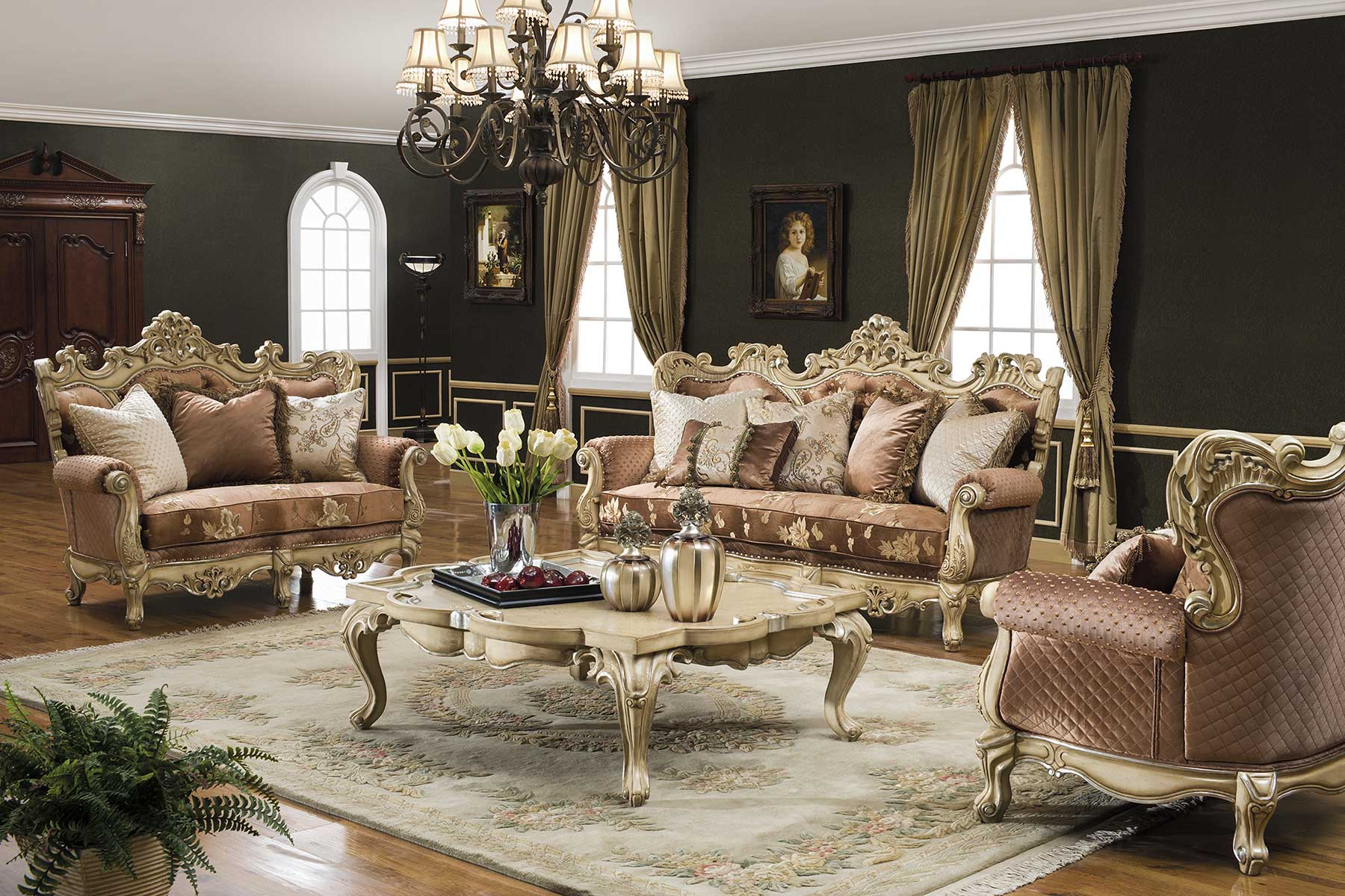 Valencia Carved Wood Traditional Bedroom Furniture Set 209000: Caesar Living Room Collection