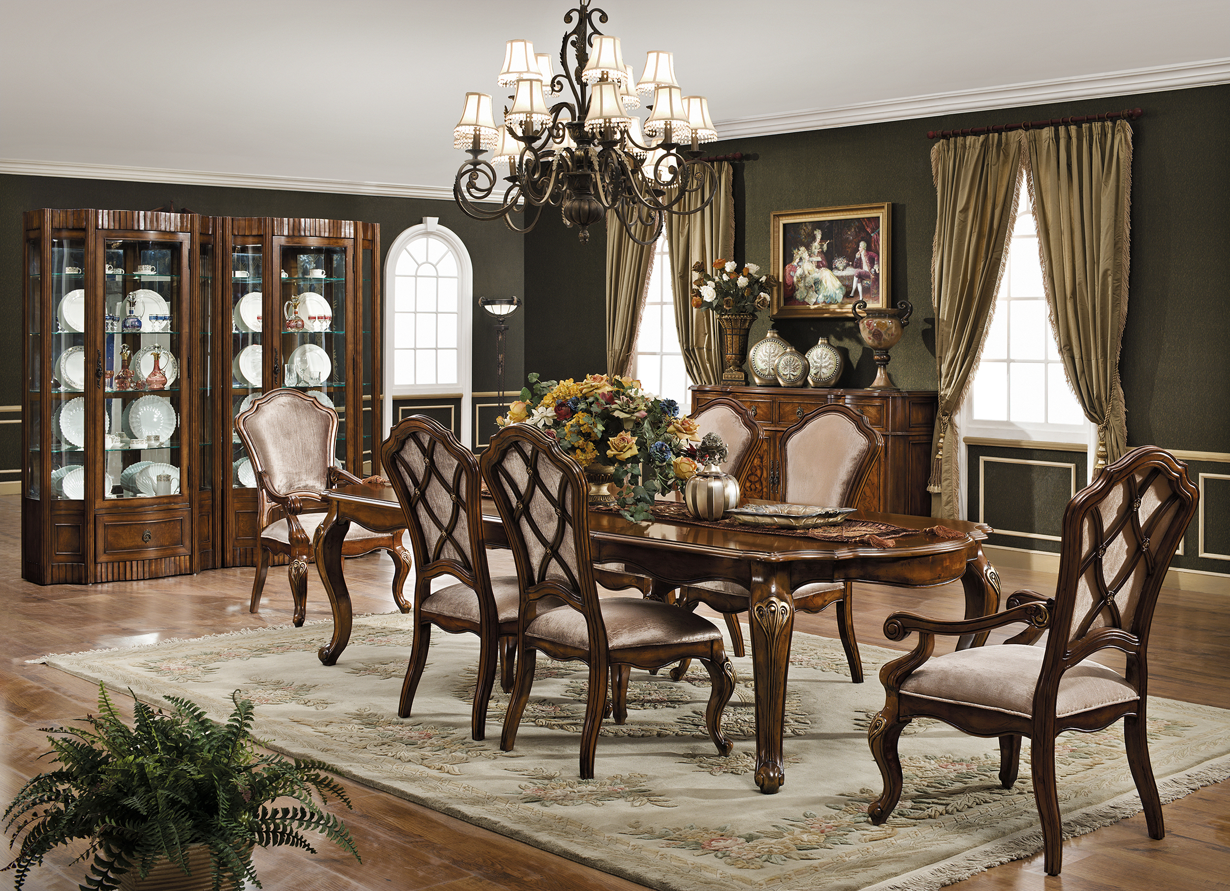 Valencia Carved Wood Traditional Bedroom Furniture Set 209000: Monaco Dining Arm Chair